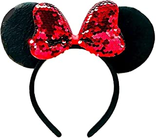 x1 BLACK SEQUIN SPARKLY GLITTER MOUSE EARS WITH RED BOW HEN FANCY DRESS