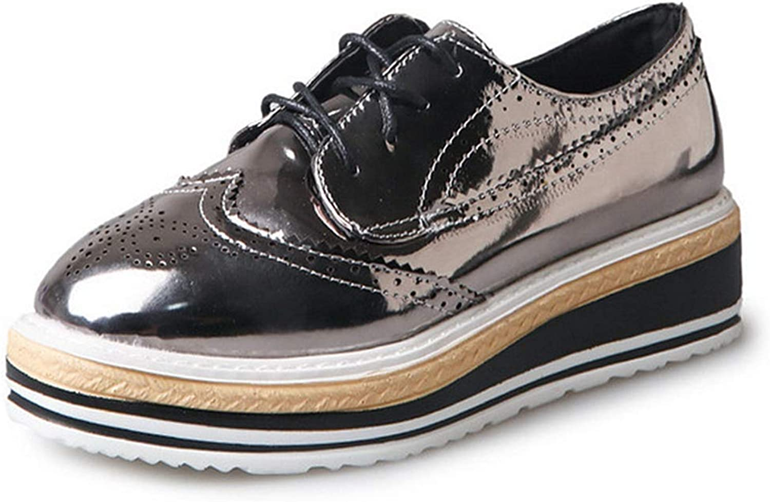 GIY Women's Oxfords shoes Round Toe Perforated Lace-up Flat Wegde Platform Brogues Wingtip Oxford shoes