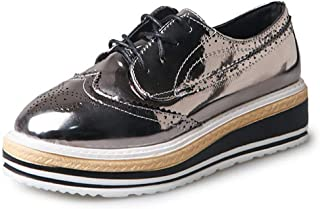 Judy Bacon Women's Oxfords Shoes Round Toe Perforated Lace-up Flat Wegde Platform Brogues Wingtip Oxford Shoes