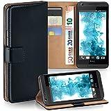 MoEx Premium Book-Hülle Handytasche passend für HTC Desire 816 | Handyhülle mit Kartenfach & Ständer - 360 Grad Schutz Handy Tasche, Schwarz