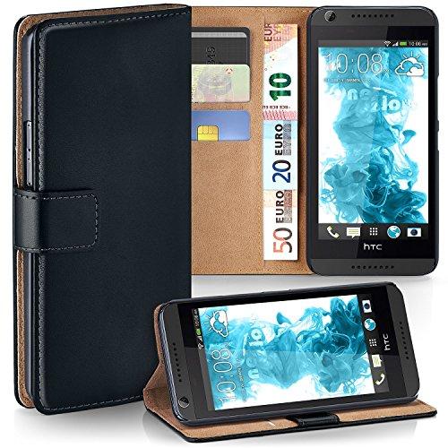 MoEx® Booklet mit Flip Funktion [360 Grad Voll-Schutz] für HTC Desire 816 | Geldfach & Kartenfach + Stand-Funktion & Magnet-Verschluss, Schwarz