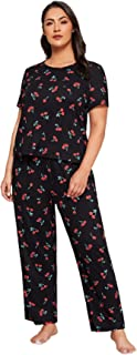 SheIn Women's Plus Cherry Print Round Neck Short Sleeve Pajama Set Sleepwear