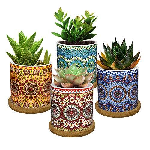 Lewondr 4PCS Flower Pot de Fleur, 2.8 pouce Mini Céramique Succulent PotsHorticoles Jardinière avec Plateau en Bambou pour Petites Plantes Fleurs Cactus, Maison Domicile Décorations Décor - Coloré