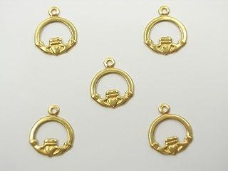 Boutique d'isacrea LOT 5 CHARMS METAL Doré : Coeur/main 13 mm - Pendentif décoratif en métal - DIY pour embellissements de...