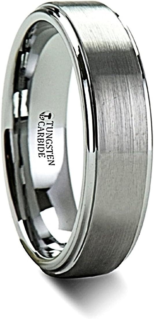 OPTIMUS Brush Finish Raised Center Polished Edge Tungsten Ring 6mm Wide Wedding Band