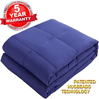 SONORO KATE Weighted Blanket 100% Cotton Material with Glass Beads Heavy Bed Blanket (Navy Blue, 60''x80'' 15lbs)