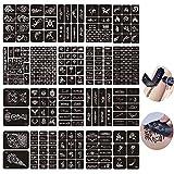 Jurxy 20 Hojas Kit de Plantilla de Tatuaje de Henna temporales Diseños de Arte Corporal Kit de Pegatinas Autoadhesivas Reutilizables Varios Patrones para Adultos Hombre Mujeres Niños Adolescente