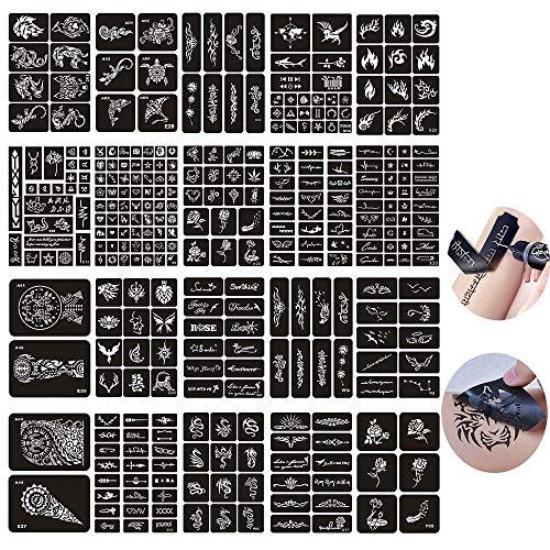 Jurxy 20 Blatt Tattoo Schablonen Glitter Temporäre Tätowierung Schwarz Selbstklebende Tattoos Schablone Arm Zurück Körperbemalung Wiederverwendbare Aufkleber für Männer Frau Kinder Mädchen