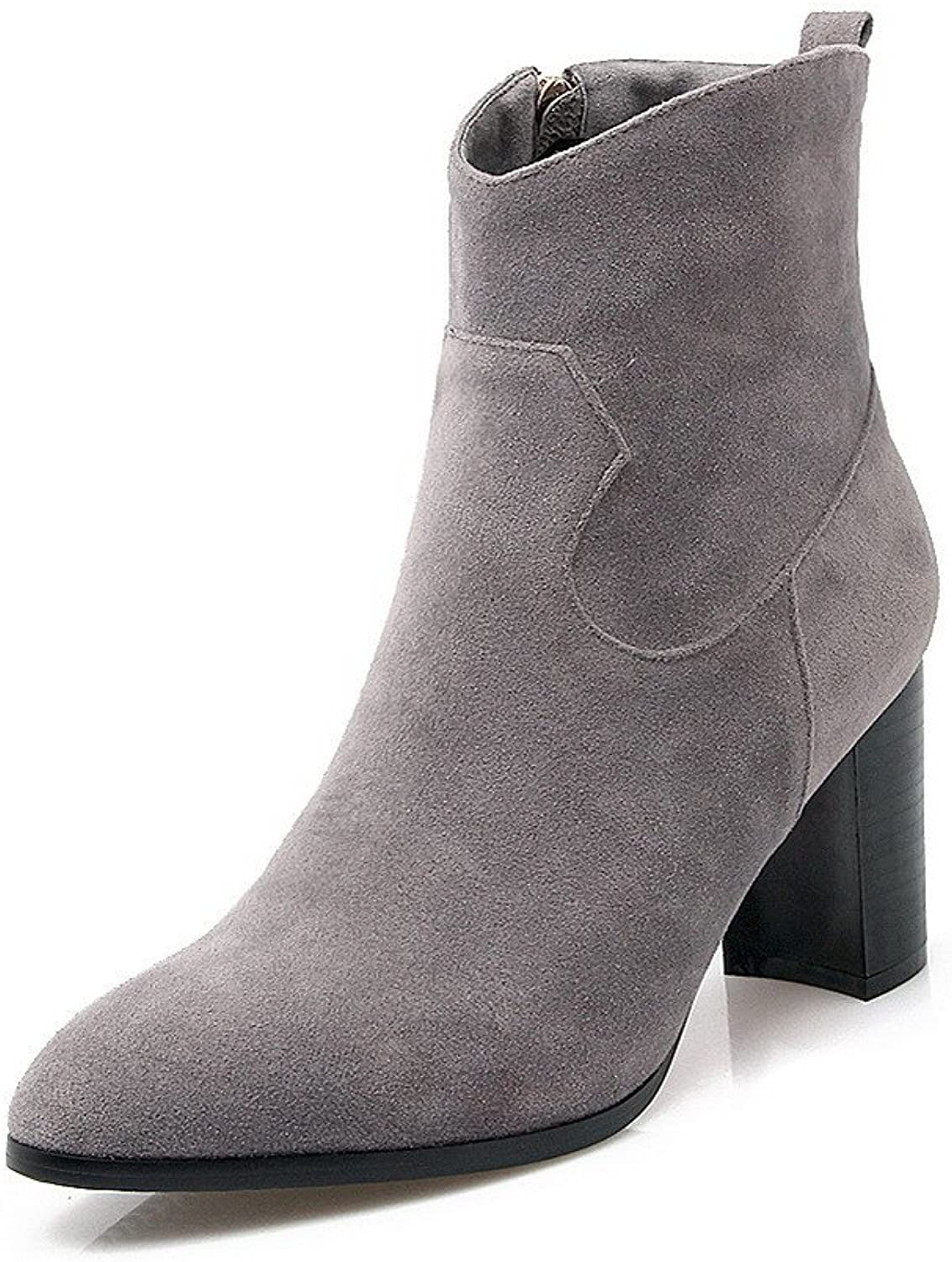 WeiPoot Women's High Heels Low-Top Solid Zipper Boots