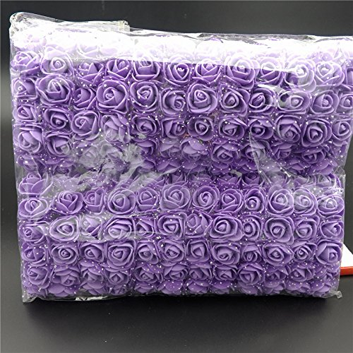 Rosas artificiales de espuma, 144 unidades Feeilty Mini rosas artifici