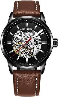 ساعة أوشستين رجال الأعمال الآلية الميكانيكية ساعة عصرية كاجوال بحزام جلدي للرجال
