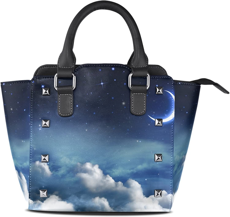 My Little Nest Women's Top Handle Satchel Handbag Beautiful Nightly Sky Moon Ladies PU Leather Shoulder Bag Crossbody Bag