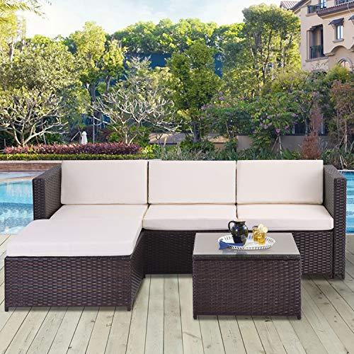 VSTAR66 Poly Rattan Lounge-Sofagarnitur, Lounge-Gartenmöbel, Ecksofa, Couchgarnitur mit Sitz- und Rückenkissen, Lounge-Tisch mit Glasplatte, Braun