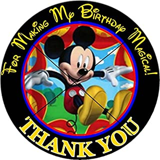 12 MICKEY MOUSE - Birthday Party Favor Stickers/Labels for Gift, Goody Treat Bag (2.5 inches circle stickers, bags not included)