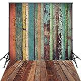 Hua 4x 6ft colorido madera telón de fondo Fotografía de fondo para pared de telón de fondo para recién nacidos d-7570