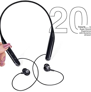 FINGERS 20 Hr Wireless Neckband Earphones with Splendid 20+ Hours Playback time and with MicroSD Support