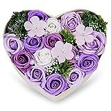 母の日 ソープフラワー 創意方形ギフトボックス 誕生日 記念日 先生の日 バレンタインデー 昇進 転居など最適としてのプレゼント (すみれ)