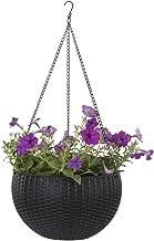 Growers Hanging Basket, Indoor Outdoor Hanging Planter Basket, 10.4 in.Round Resin Garden Plant Hanging Planters Decor Pot (Black)