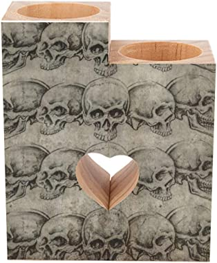Candle Holder Stand Set of 2 Tattoo Art Skulls Over Old Paper Tealight Candle Holder Tea Lights Candlestick Decorative Wood P
