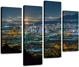 Phoenix Cityscape at Night Canvas Print Artwork Wall Art Pictures Framed Digital Print Abstract Painting Room Home Office ...