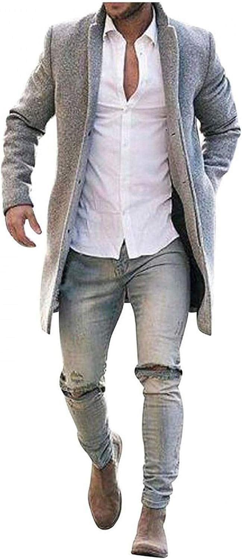 WUAI-Men Wool Blend Trench Coat Notched Lapel Single Breasted Pea Coat Winter Warm Long Jacket Plus Size