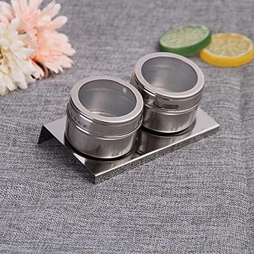 YLLAND Paquete de 4 tarros magnéticos para especias, de acero inoxidable portátil y recipientes de almacenamiento de LNNDE