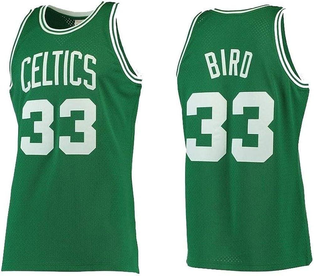 GEXING Larry Bird # 33 Boston Celtics - de Malla Transpirable Deporte Jersey Chaleco sin Mangas clásico Bordado