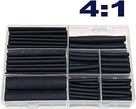 RockDIG 104Pcs 4:1 Heat Shrink Tubing Double-Wall Adhesive Lined Tube Assortment Kit 6 Sizes 4 6 8 12 16 20 mm Black