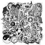 JustYit 100 Pezzi Stickers Vinili|Sticker Pack|Graffiti Stickers|Adesivi Impermeabili|Bianco e Nero Adesivi Autoadesivo per Computer Portatile|Automobili|Autoadesivi Paraurti