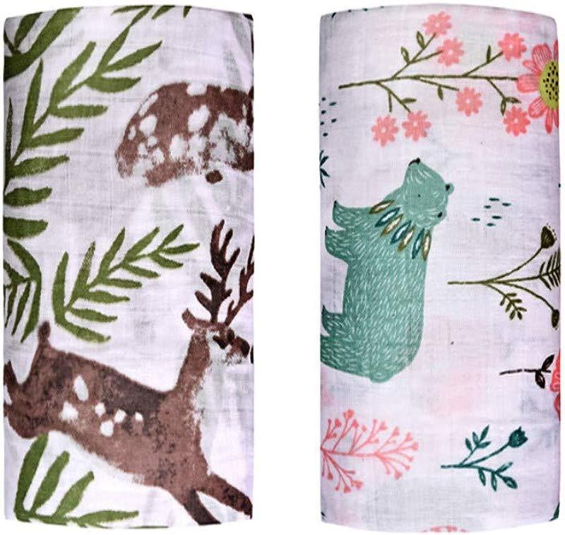 Muslin Swaddle Toddler Blanket 2 Pack 47 X47 Green Bear Sika Deer Blankets For Boys Girls Softest Baby Receiving Blankets Baby Shower Gifts Stroller Blanket Green Bear Sika Deer