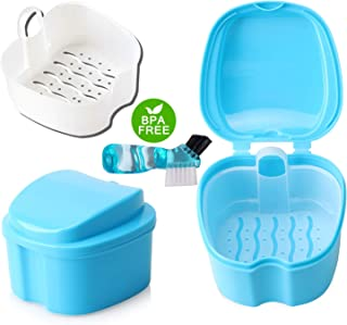 Coolknight Dentures Box,Denture Case,Denture Cups Bath,Denture Brush Retainer Case,Dentures Container with Basket Denture Holder for Travel (Light blue)