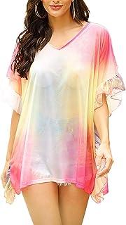 Liliam Women's Shiny Metallic Holographic T-Shirt Glitter Rave Festival Tank Tops Blouse Tee
