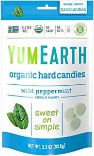 YumEarth Organic Wild Peppermint Hard Candy, 3.3 Ounce Pouches (Pack of 6)