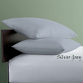 600TC 100% Natural Egyptian Cotton Finish Soft & Silky Pure Long-Staple Cotton Silver Grey Solid Toddler Travel 12x16 inch Size Pillow Cover Set of 2pcs (Silver Toddler Pillow Case- 12