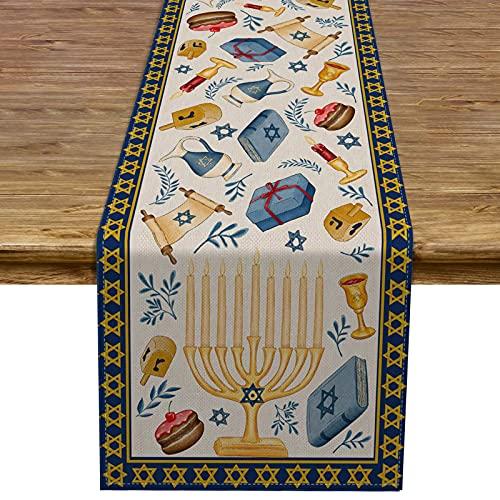 Rainlemon Linen Hanukkah Table Runner Jewish Chanukah Torah Driedel Menorah Festival Kitchen Dining Room Table Decoration