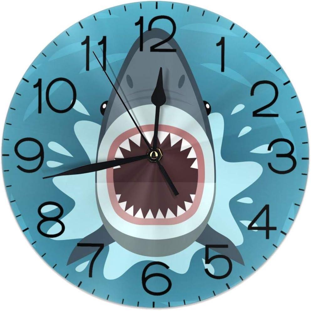 14. Shark Design Round Wall Clock