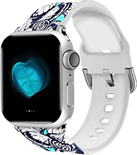 Compatible with Apple Watch Series 4/3/2/1 Band 38mm 40mm 42mm 44mm, Pattern Printed Silicone Replacement Accessories for iWatch Bands