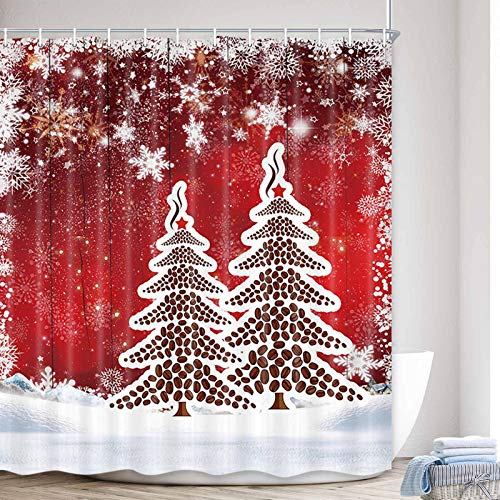 Rustic Red Christmas Shower Curtain, Xmas Tree on Red Wooden Christmas Winter Snowflake Polyester Fabric Waterproof Bath Curtain, Farmhouse Christmas Bathroom Shower Curtains with Hooks, 69X70in