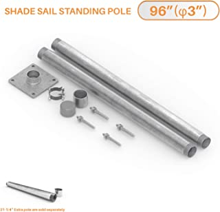 TANG Sun Shade Sail Pole Kit Stand Post Canopy Support Post Rigid Galvanized Metal Steel Pipe Heavy Duty with Base D-Ring Clamp Fence Post Sign Post 8' (96'')