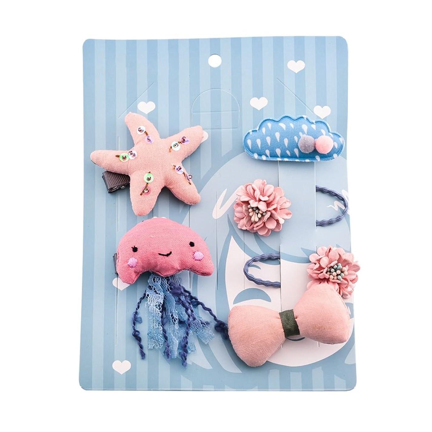 祖父母を訪問リマかもめSemoic ピンク 1セット 6個 かわいい布 花/ヒトデ/雲/月のヘアピン組み合わせセット 誕生日の贈り物