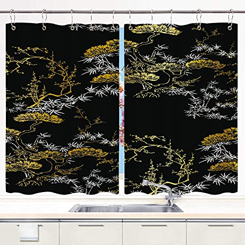 BOKEKANG kitchen curtains,Seamless Japanese Chinese Pattern Gold Tree,Cafe Curtain Kitchen Window Treatment Sets Home Decor with Hooks,55'Wx39'L,2 Panels