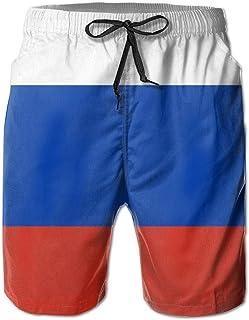 MoonStarDayUp Russia Flag Beach Shorts for Men Swim Trunks Swimsuit Boardshorts Summer