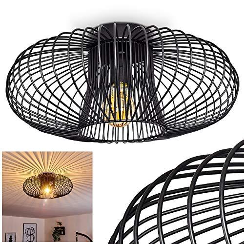 Deckenleuchte Wemude, runde Deckenlampe aus Metall in Schwarz, 1-flammig, E27-Fassung max. 60 Watt, Retro-Leuchte mit Lichteffekt durch Gitter-Optik, LED Leuchtmittel geeignet