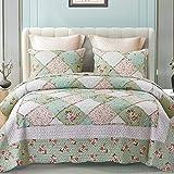 ENCOFT 3 Teilig Bettwäscheset Polyester Tagesdecke Bettüberwurf Steppdecke Patchwork Bettdecke Doppelbett (220 x 240 cm, Grün 1)