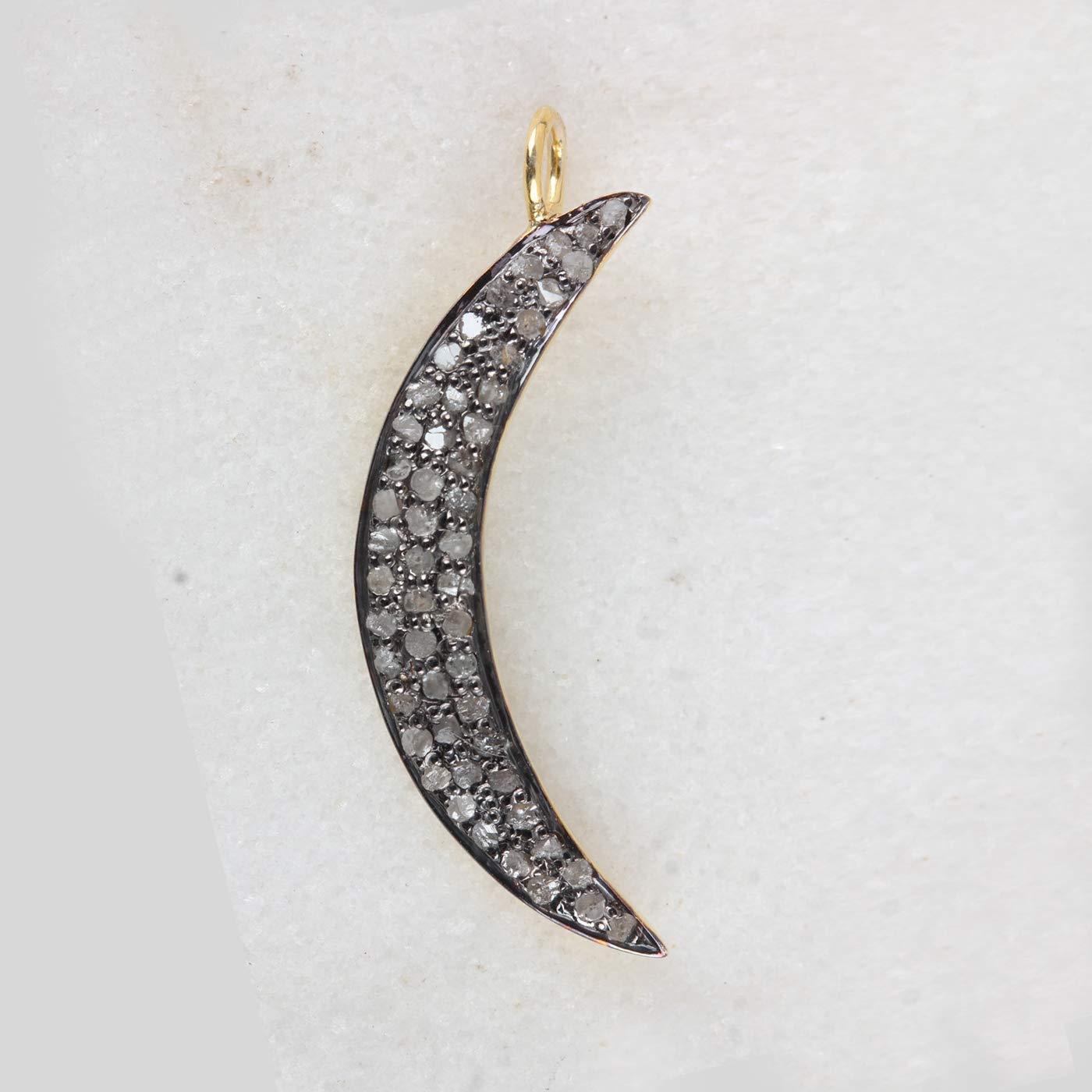 Natural Diamond Pave Crescent Moon J unisex Factory outlet Style Pendant Vintage Charm