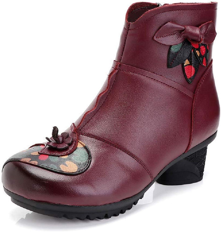 LingGT Women Leather Boots Soft Flower Print Block Zipper shoes (color   Purple, Size   CA 6)