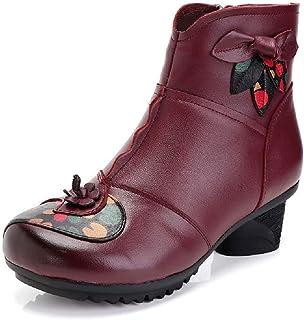 LingGT Women Leather Boots Soft Flower Print Block Zipper Shoes (Color : Purple, Size : AU 4.5)