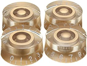 Speed Knobs,4 Packs Top Hat Bell Knobs,Knurled Metric LP Guitar Speed Dial Control Knobs for Gibson Les Paul SG Electric Guitar,Fits 24 Fine-Spline USA (Imperial) Split Shaft Pots Gold/Clear/Black/Red