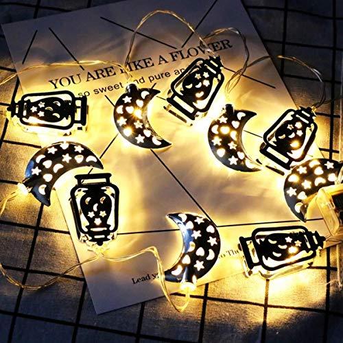 Ramadan kerstverlichting, werkt op batterijen, 1,65 m, Ramadan, LED, maan, lichtketting, deel van de Islaemse klasse, decoratie voor vakantie (kleur: rood)