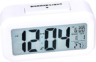 Digital Clock, Larger LCD Backlit Display, Alarm Clock Showing Temperature, Clocks for Bedroom(White)
